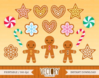 16 Gingerbread Clipart, Christmas Cookies Clipart Set, Decorated Gingerbread Clip Art by VectoryClipart