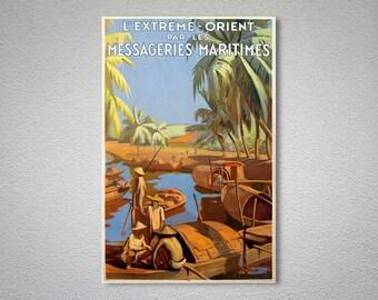 L'extreme Orient par Les Messageries Maritimes Travel Poster - Poster Print, Sticker or Canvas Print