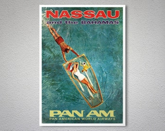 Nassau and Bahamas PAN AM  Airline Travel Poster - Poster Print, Sticker or Canvas Print