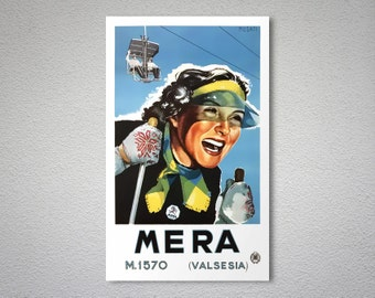 Mera M.1570 Valsesia - Skiing Travel Poster - Poster Paper, Sticker or Canvas Print