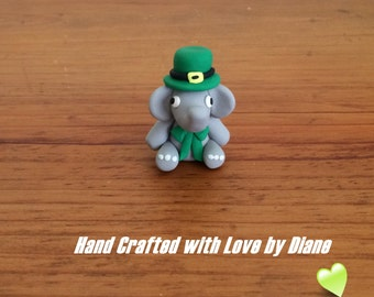 Miniature Hand Crafted Polymer Clay Leprechaun Elephant - St Patrick's Day
