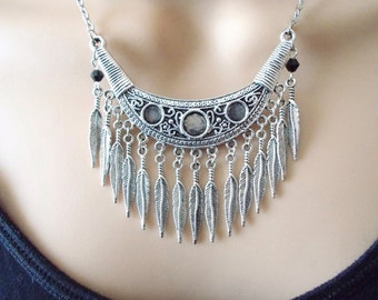 tribal necklace, boho jewellery, feather necklace, tribal jewellery, silver necklace, statement jewellery, statement necklace, gift for her