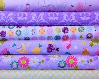 Dream and a Wish Purple Bundle, by Sandra Workman, from Riley Blake, 1/2 yard of 6 fabrics