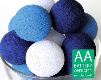 20 Blue Tone Cotton Ball LED String Lights AA Battery Operated, Night Light, Wedding Decor, Patio Party, Fairy, Bedroom, Lanterns