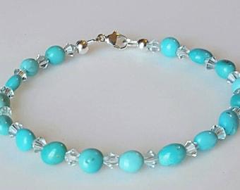 Kingman Arizona Turquoise Beaded Bracelet, Baby Blue Swarovski Crystal, Turquoise Jewelry, Native American Inspired, Arizona Turquoise