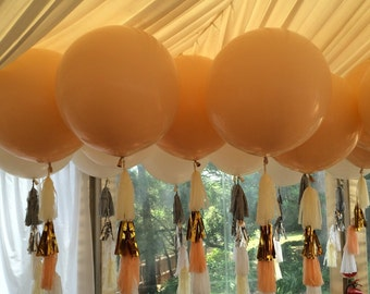 Giant Round Balloon with Bohemian Style Tassel Garland of 4 Tassels - ANY COLOURS