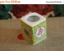 Fall CLEARANCE Sale Porcelain Japanese Toothpick Holder - Asian, Hand Painted, Yellow Famille Rose