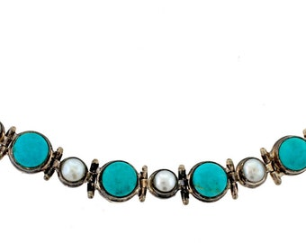 Vintage Sterling Silver Natural Turquoise and Fresh Water Pearl Bracelet 7inch