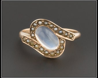 Antique Moonstone Ring | Moonstone & Pearl Ring | 10k Gold Moonstone Ring | Antique Ring | 10k Gold Ring