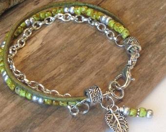 Boho Bracelet, Single Wrap, Moss green, silver, Miyuki Beads, leather wrap bracelet, Charm Bracelet, Gift for Her