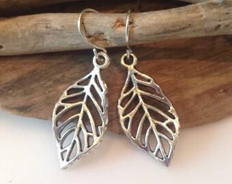 Boho Earrings, Silver Leaf Earrings, Boho Leaf, Lead free Silver, dangle Earrings, Small leaf earrings