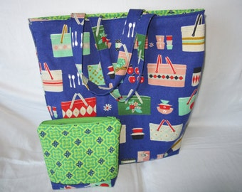 Shopping Tote with Zipper Pouch