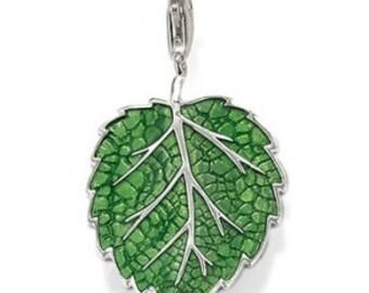 charms argent divers nature feuille verte,Bracelet Charm,sterling silver charm,Bracelet européen,pendentif, Style Européen à breloques