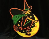 Beistle Halloween Die Cut, Vintage Decoration, Flying Witch Moon, Black and Orange, Spooky, Two Sided, Beistle Co. Made USA, Circa 1960s