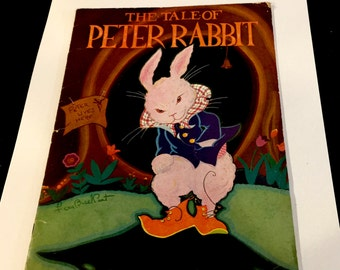 Vintage The Tale of PETER RABBIT, Art Deco, Illustrated by Fern Bisel Peat, Harter Publishing Co, Copyright 1931
