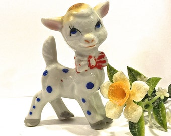 Vintage Blue Polka Dot Fawn, Deer Figurine, Ceramic Baby Deer, Spotted Fawn with Bow Tie, Nursery Decor, Collectible Fawn, Retro, 1960s