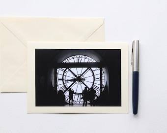 Musée d'Orsay Clock Paris Greeting Card, Blank Card, Greeting Card, Stationary, Paris Photo Print, Notecard, Black & White