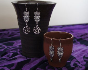 Cute owl earrings, available in 6 different forms (forest, wicca, pagan, pentagram,czech glass)