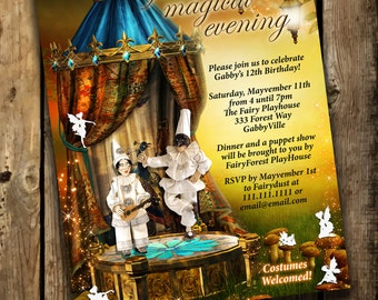 Puppet Show Invitations, Puppet Show Birthday, Puppet Show Party, Puppet Show, Fairytale invites