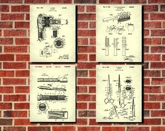 Hair Salon Patent Print Set 4 Posters Salon Decor Hairdressing Poster Salon Art