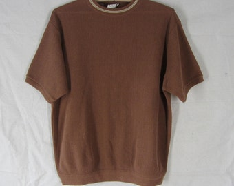 Retro 70s Sweater XL Brown Knit Pullover Short Sleeve
