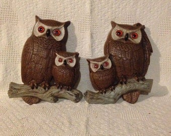 "Vintage 70's Lg 15"" Owl Wall Decoration Plaque's Lot of 2 Figures Burwood 1977"