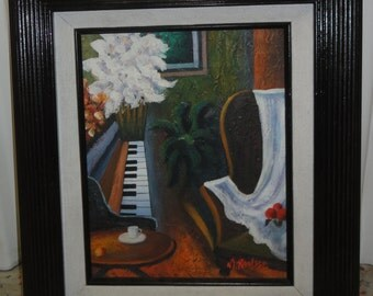 Vintage Still Life Flowers/ Piano /Chair/Signed M. Raysse