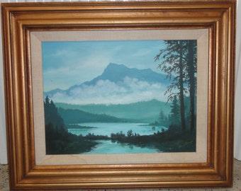 Vintage Oil Painting / Signed Loiuse Champie Jones/Mountains/Lake/Moose