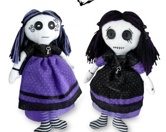 "10"" Gothic Rag Doll  PRINTED Sewing PATTERN & Easy to Follow Instructions, Make your Own, Fun Sewing Project"