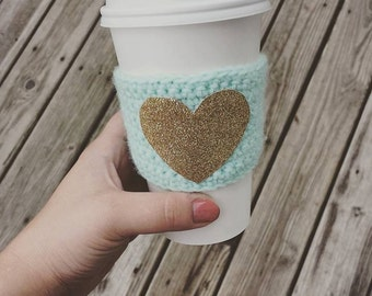 Custom Made Glitter Heart Crocheted Coffee Cozy