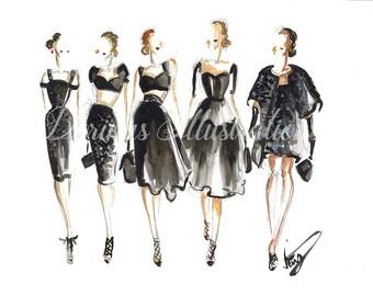 Women in black, Fashion illustration, Fashion wall art, Black wall art, Fashion sketch, Modern art, Modern wall art, Modern art print