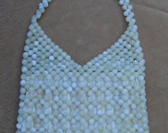 Mondani of New York Vintage Cream Colored Beaded Zippered Shoulder Bag Purse