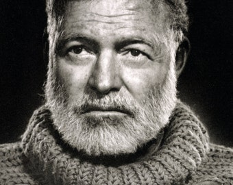 Ernest Hemingway Poster, Iconic Author & Journalist, For Whom the Bell Tolls, The Sun also Rises
