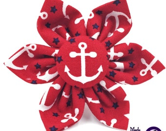 Patriotic / Anchor / Nautical / Dog Collar Flower / Dog Collar Bow / Red / Dog Bow / Dog Flower / White / Blue / Summer / Fourth of July