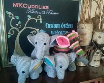 Handmade crochet baby elephants