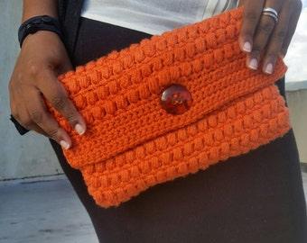 Crochet clutch purse. Evening purse. Rust colour.