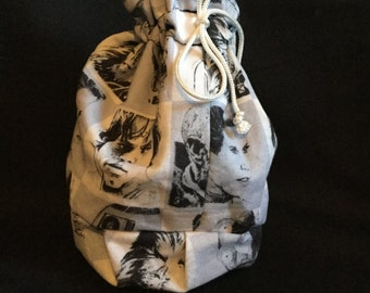 Handmade Drawstring Carrying Pouch made with Star Wars fabric