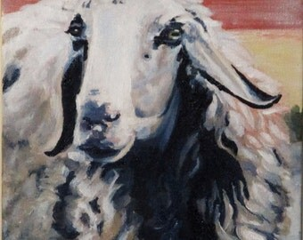 ORIGINAL PAINTING, acrylic on canvas, sheep painting, sheep portrait, animal picture, original art, realism with a touch of impressionism