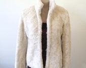90s beige fluffy jacket, shaggy jacket, faux fur jacket, Cuba & High jacket, plush jacket,  women's jacket,  S 10 Small, 1015/601