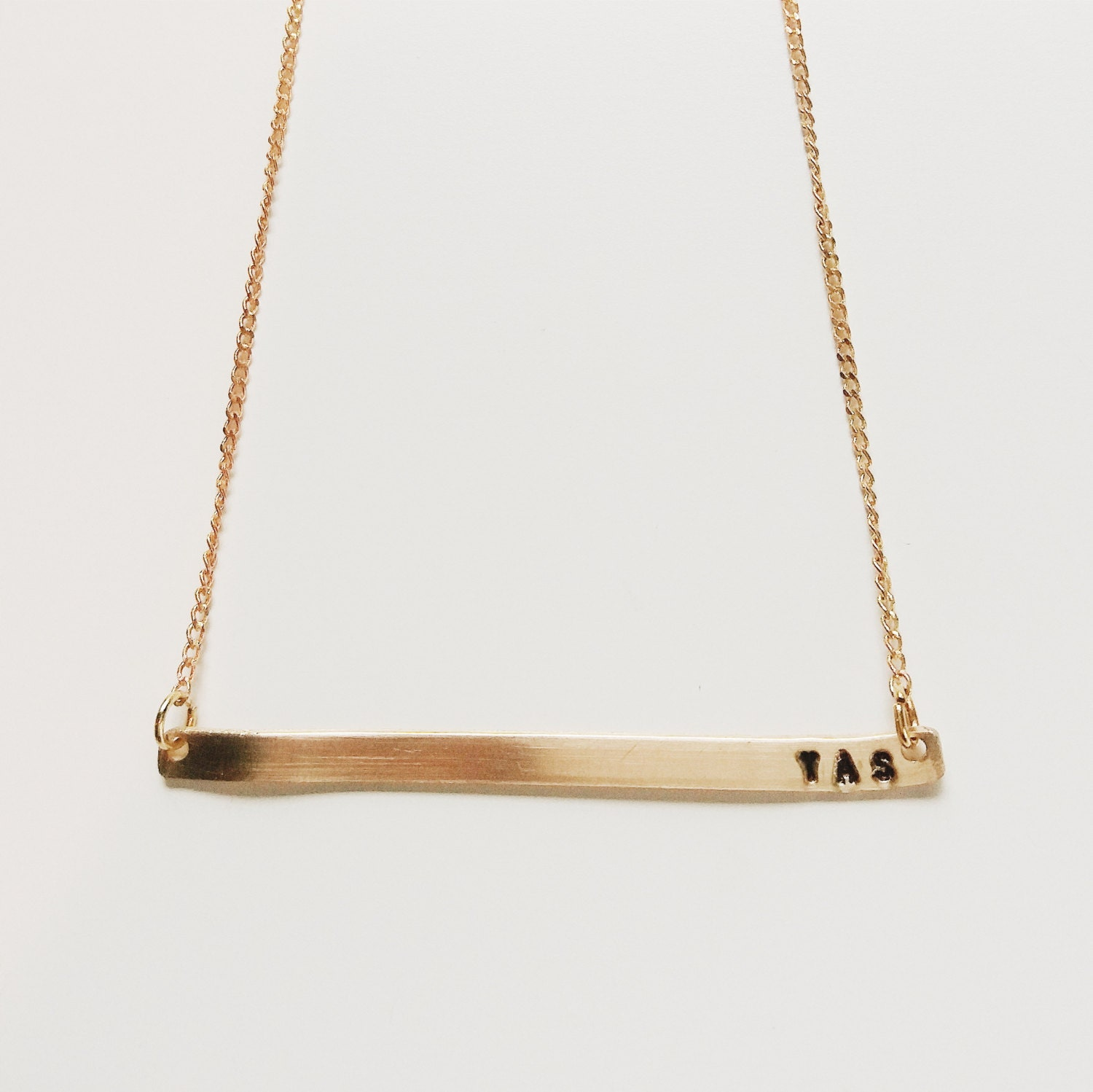 personalized gold bar necklace monogram by