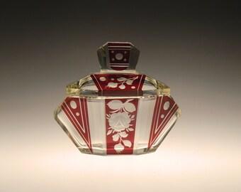 Bohemian Czech Art Deco Glass Powder Box Dose by Karl Palda