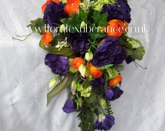 Artificial Purple and Orange Cascading Bridal Bouquet with purple lisianthus, orange ranunculas and mixed foliage, silk wedding flowers