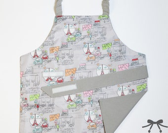 Child apron, Montessori apron, Water resistant apron, Fits 1.5 - 5 years, City + grey cotton lining