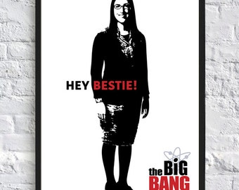 The Big Bang Theory Inspired Poster - Amy Farrah Fowler - Hey Bestie - A4 - TV Poster