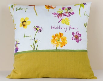 Floral Patterned-Mustard Colour-Green Stripe Pillow Cover - Decorative Cushion Case - Linen and Cotton Pillow Cover - Linen Home Decor