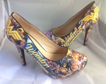 Wonder Woman Comic Book Shoes, Superhero Heels, Unique and One of a Kind.