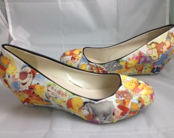 Winnie the Pooh Comic Book Shoes, Disney Heels, Unique and One of a Kind.