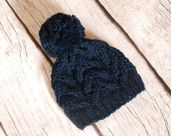 Cable hat with pom pom, baby boy girl knit hat, hand knitted cable hat baby, newborn to adult sizes, navy cotton beanie, made to order