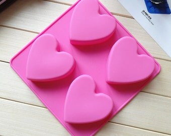 4-cavity heart mold Silicone chocolate Mold/ Cake Mould /Silicone Chocolate Mould suitable for making cake,bread,jelly, chocolate, pudding
