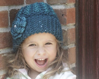 Aqua knit hat. Knitted girl hat. Crochet girl hat. Girls knitted hat. Flower hat. Soft knit hat. For age 0-10 years old